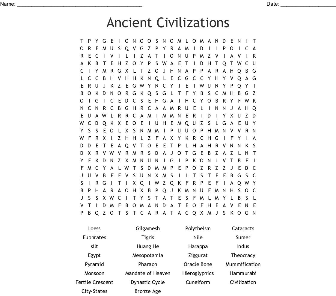 Ancient Civilizations Word Search