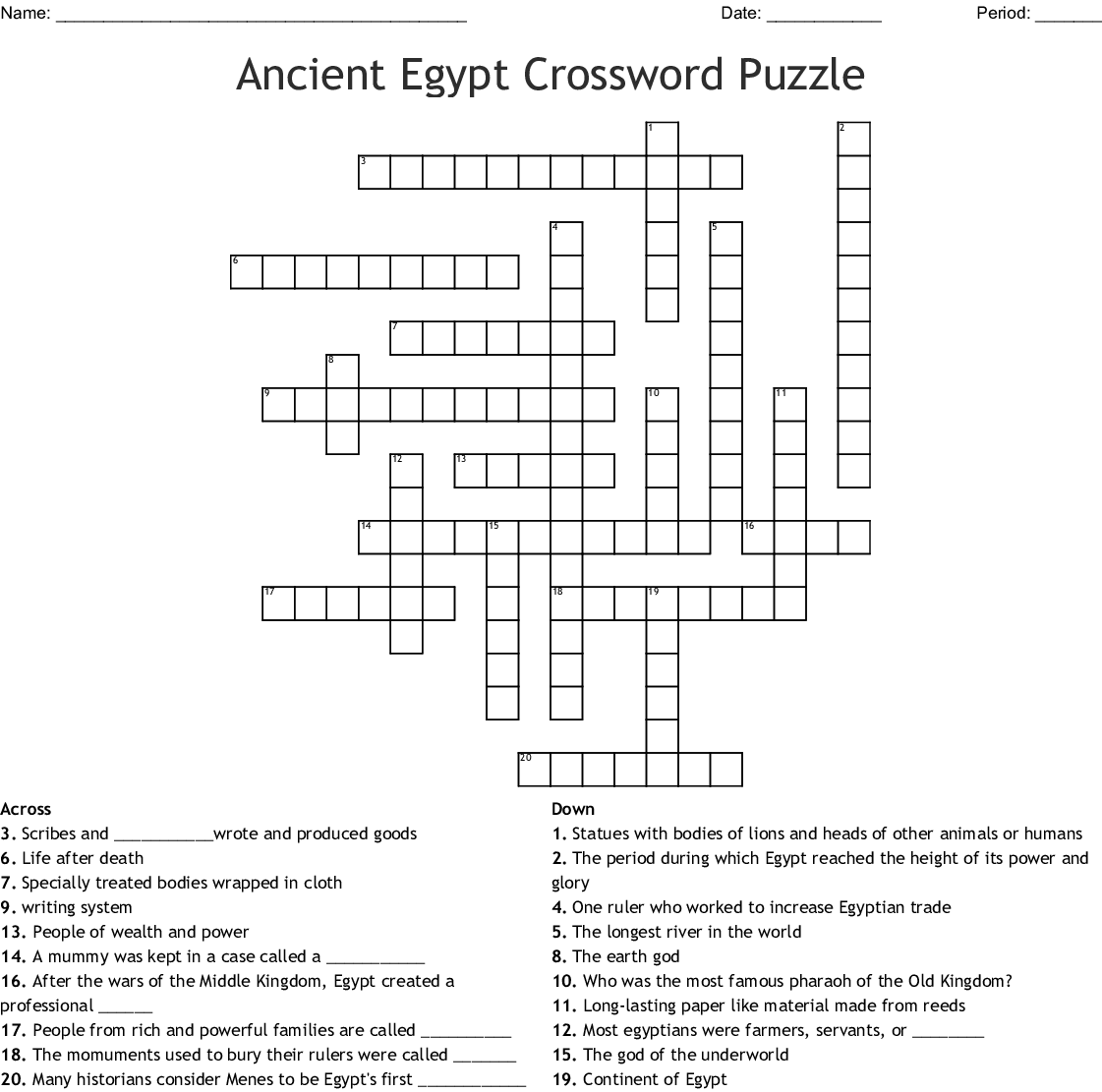 Pharaohs Crossword