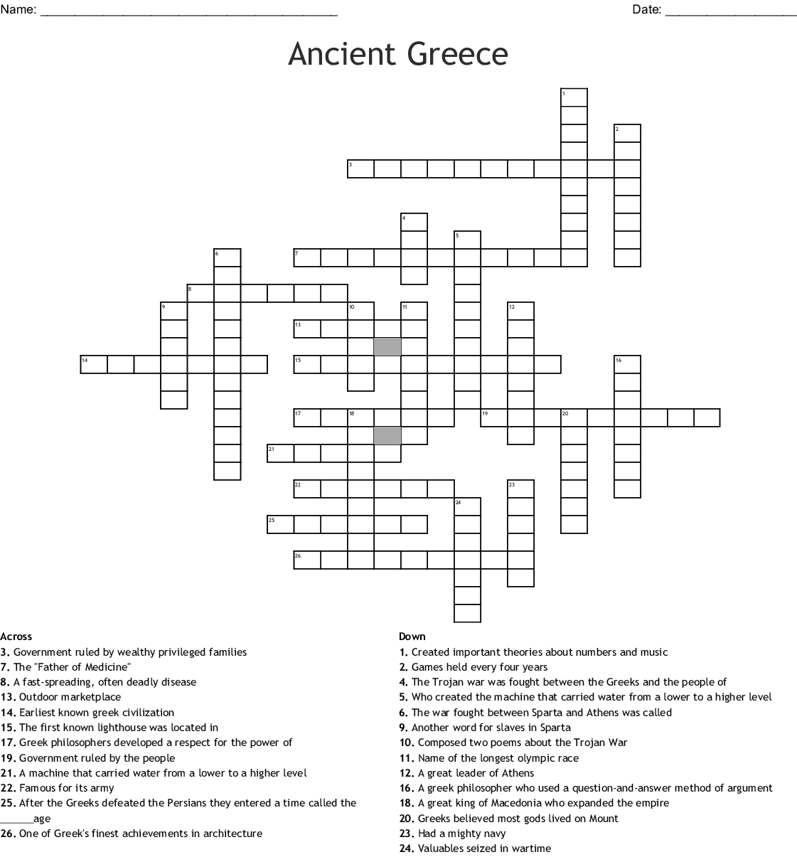 Review For Ancient Greece Crossword