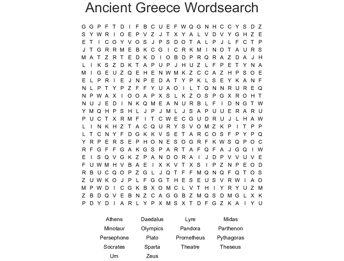 Myths And Legends Word Search