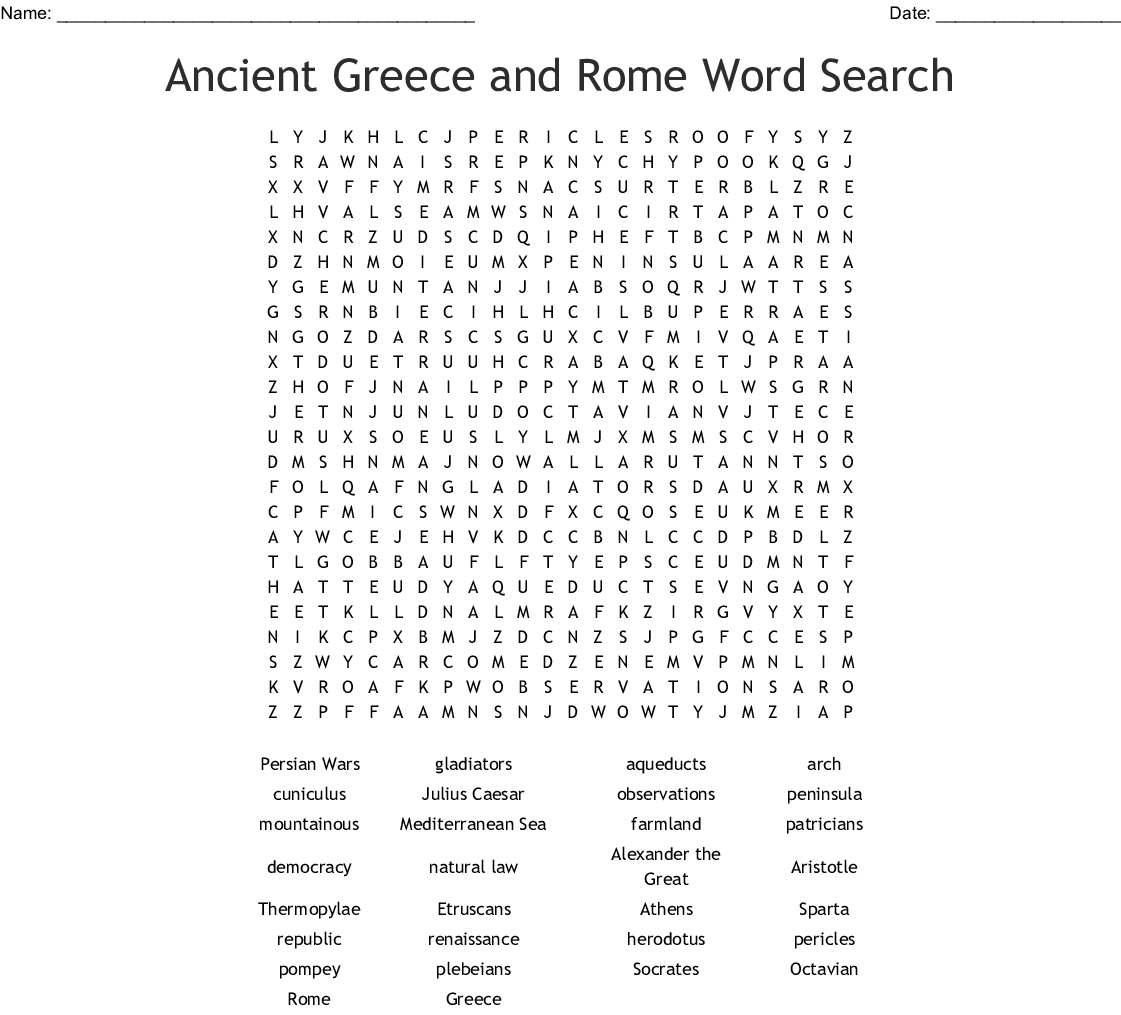 Ancient Greece And Rome Word Search