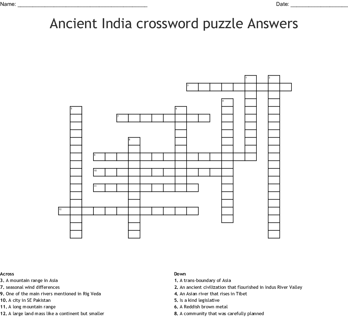 Ancient India Crossword Answers
