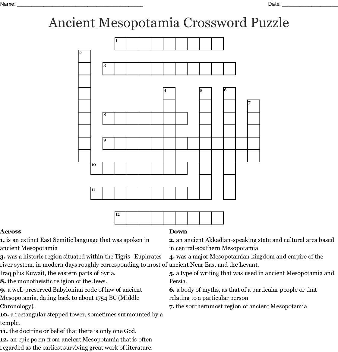 Ancient Mesopotamia Worksheet Answers