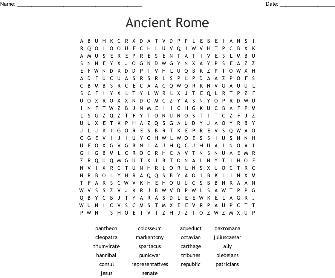 Ancient Rome Crossword Puzzle