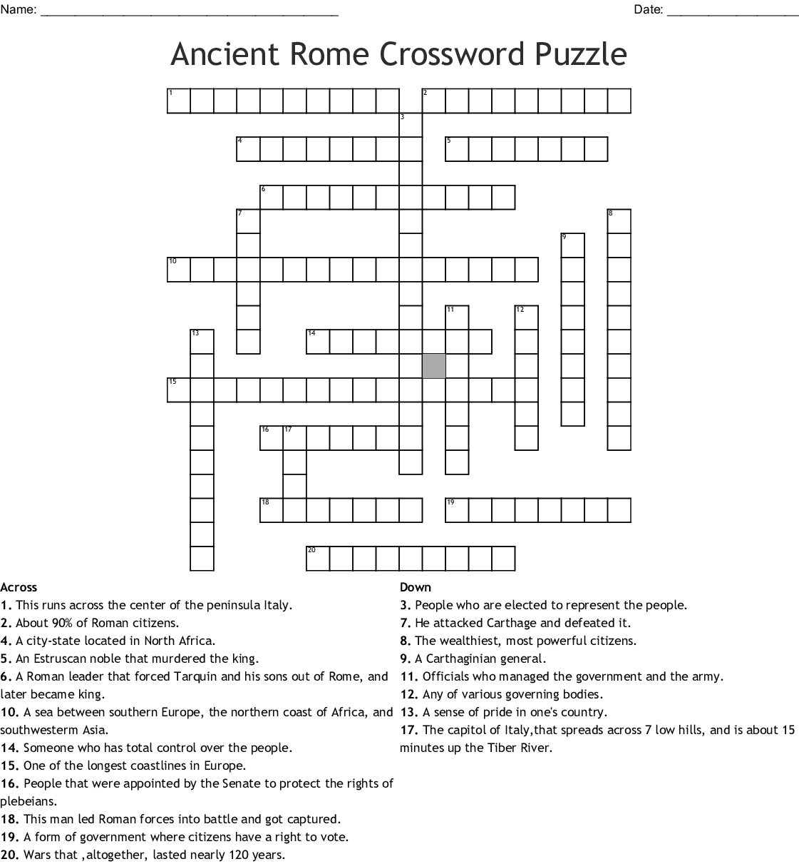 The Roman Republic Crossword