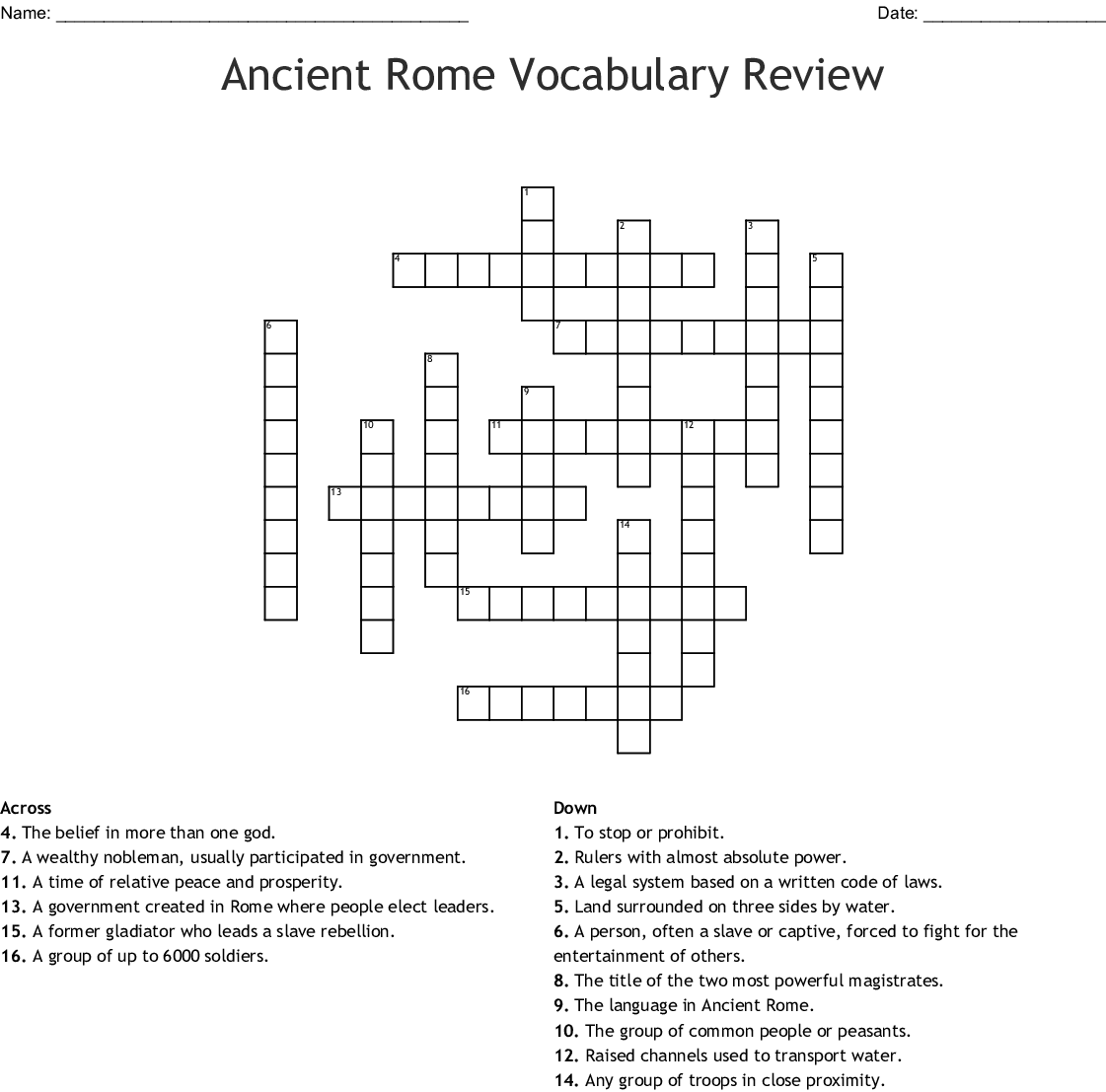 Ancient Rome Vocabulary Worksheet