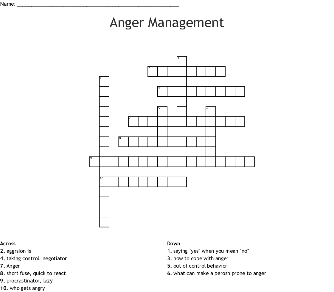Anger Management Word Search