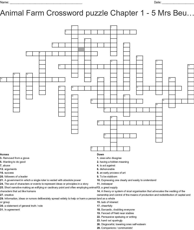Animal Farm Crossword Puzzle