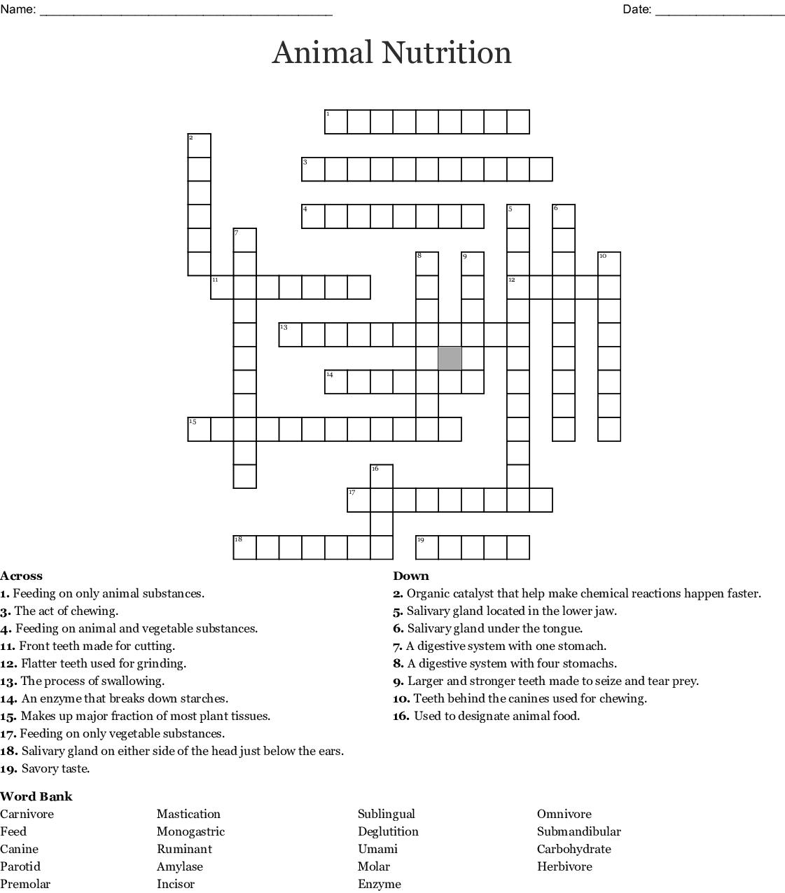 Animal Nutrition Crossword