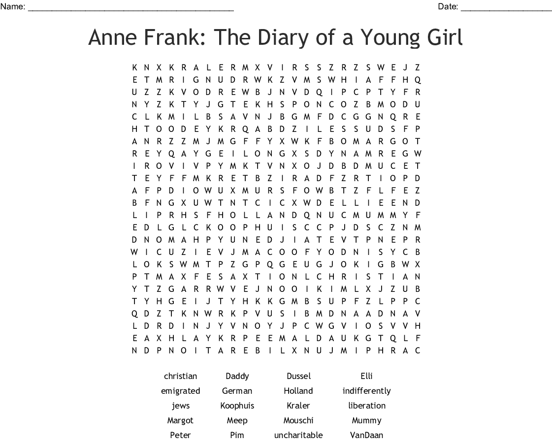 The Diary Of Anne Frank Terms Word Search