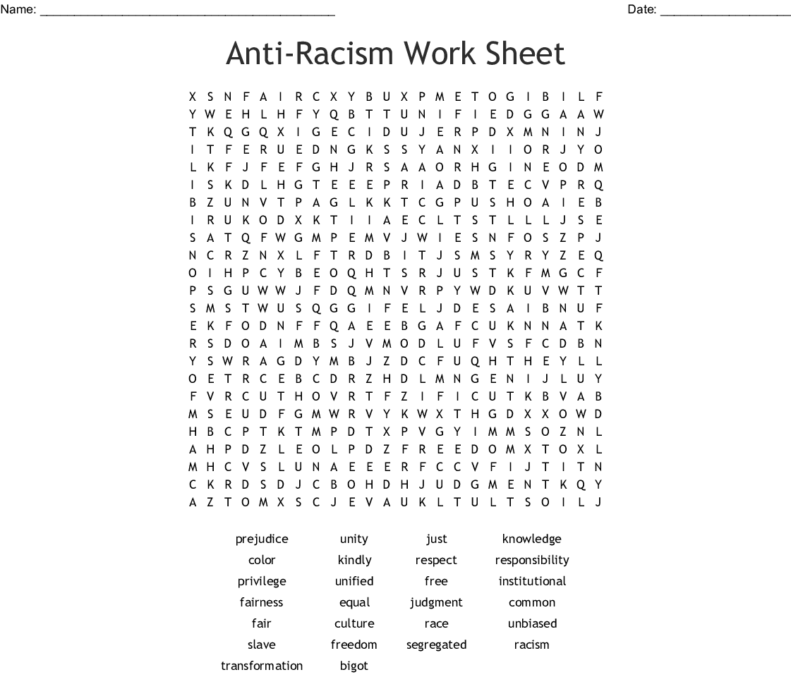 Racism Word Search