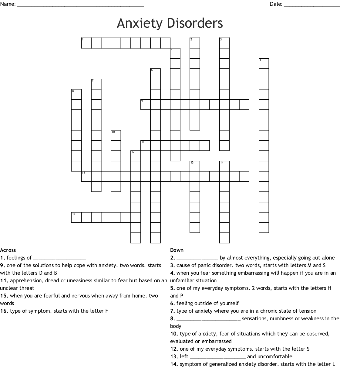 Crossword Anxiety Disorders Worksheet Answers
