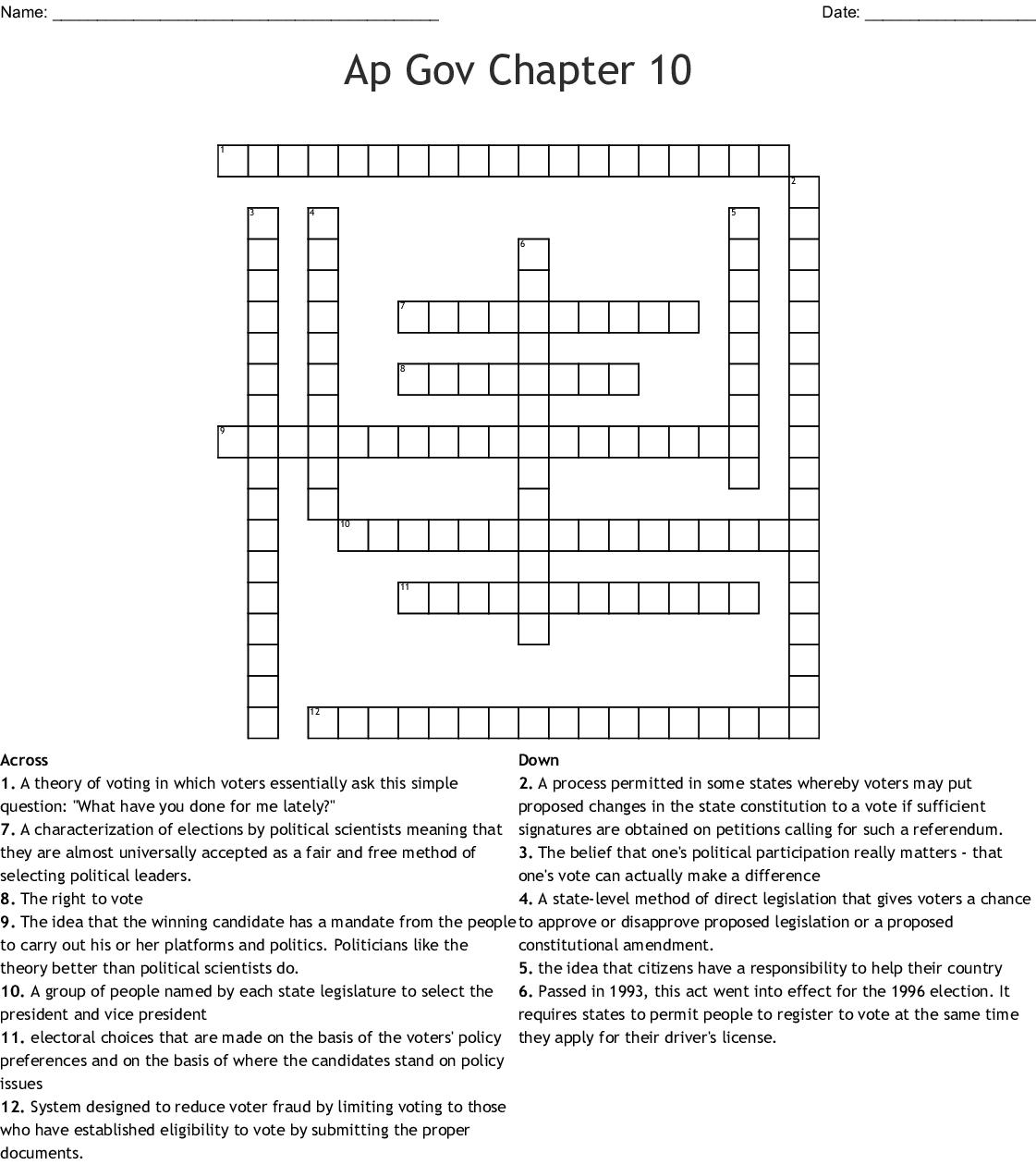 Worksheet 1 Chapter 10 Crossword