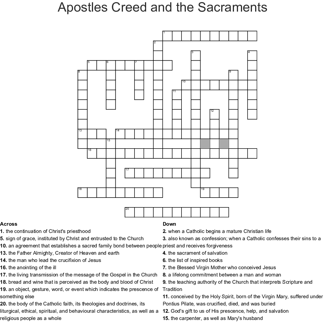 Apostles Creed And The Sacraments Crossword