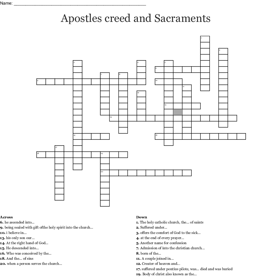 Apostles Creed Word Search
