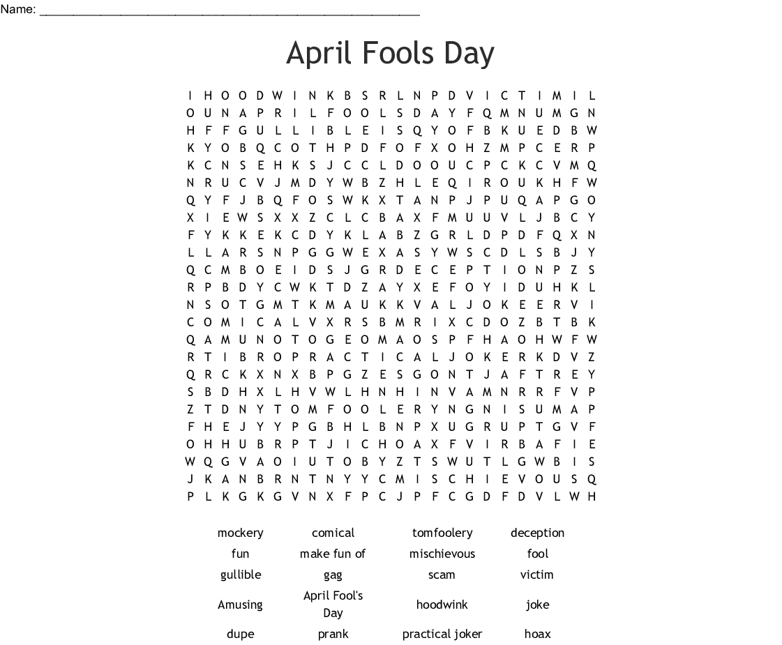 April Fools Day Word Search