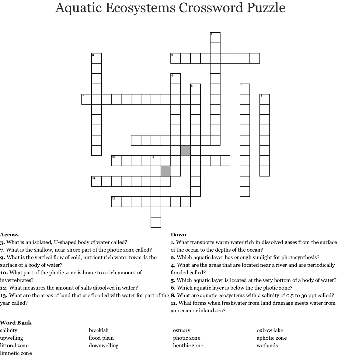 Aquaculture Crossword