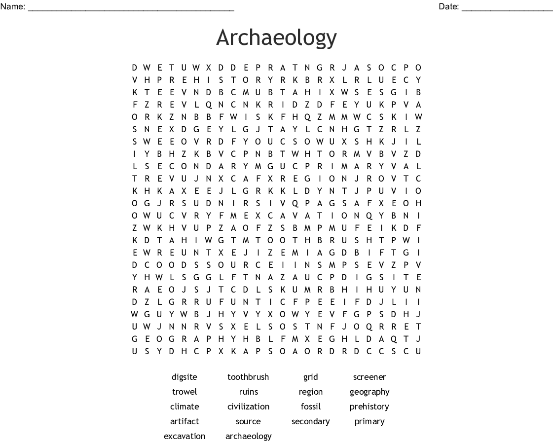 Archaeology Word Search