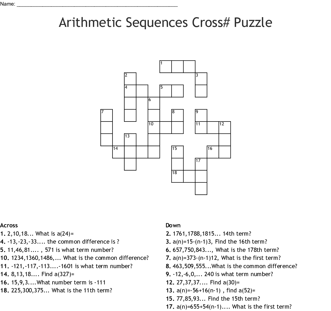 Arithmetic Sequences Crossword Puzzle