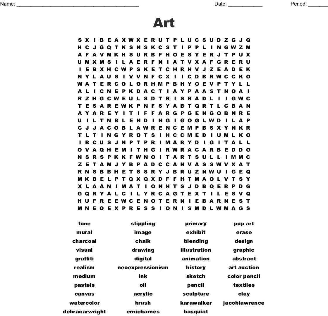 Art Supplies And Tools Word Search
