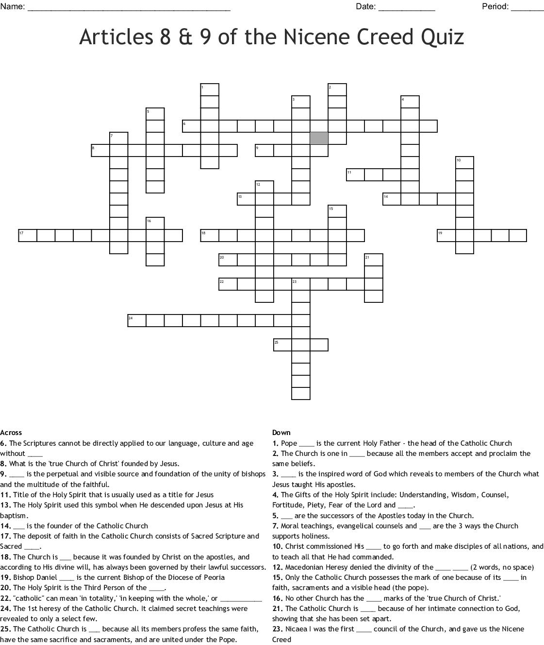 Articles 8 Amp 9 Of The Nicene Creed Quiz Crossword