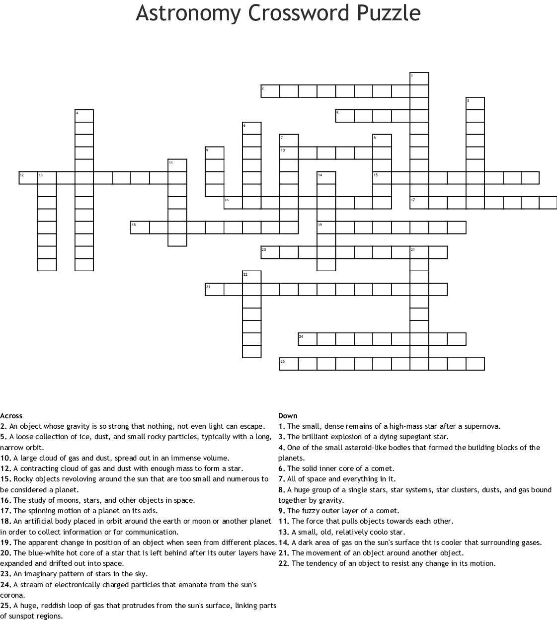 Astronomy Crosswords Word Searches Bingo Cards