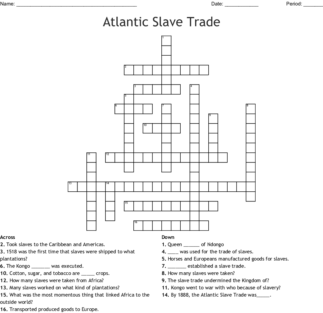 The Atlantic Slave Trade Worksheet Answers