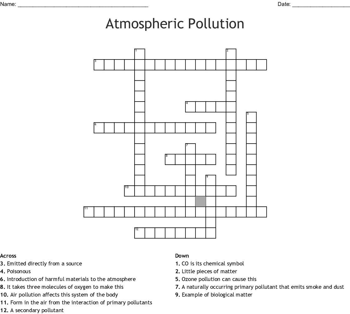 Green Living Amp Environmental Issues Crosswords Word