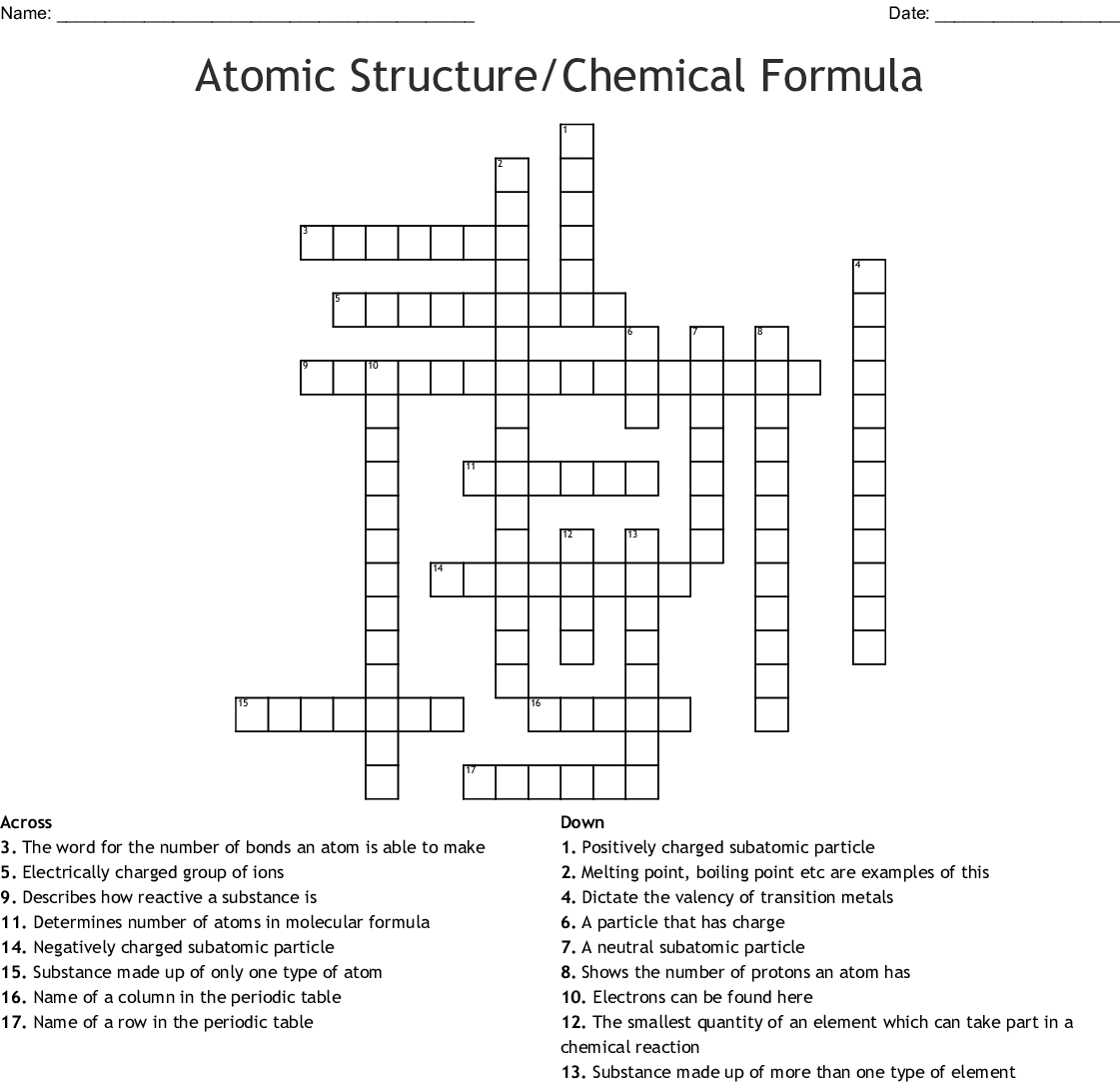 Atomic Structure Chemical Formula Crossword