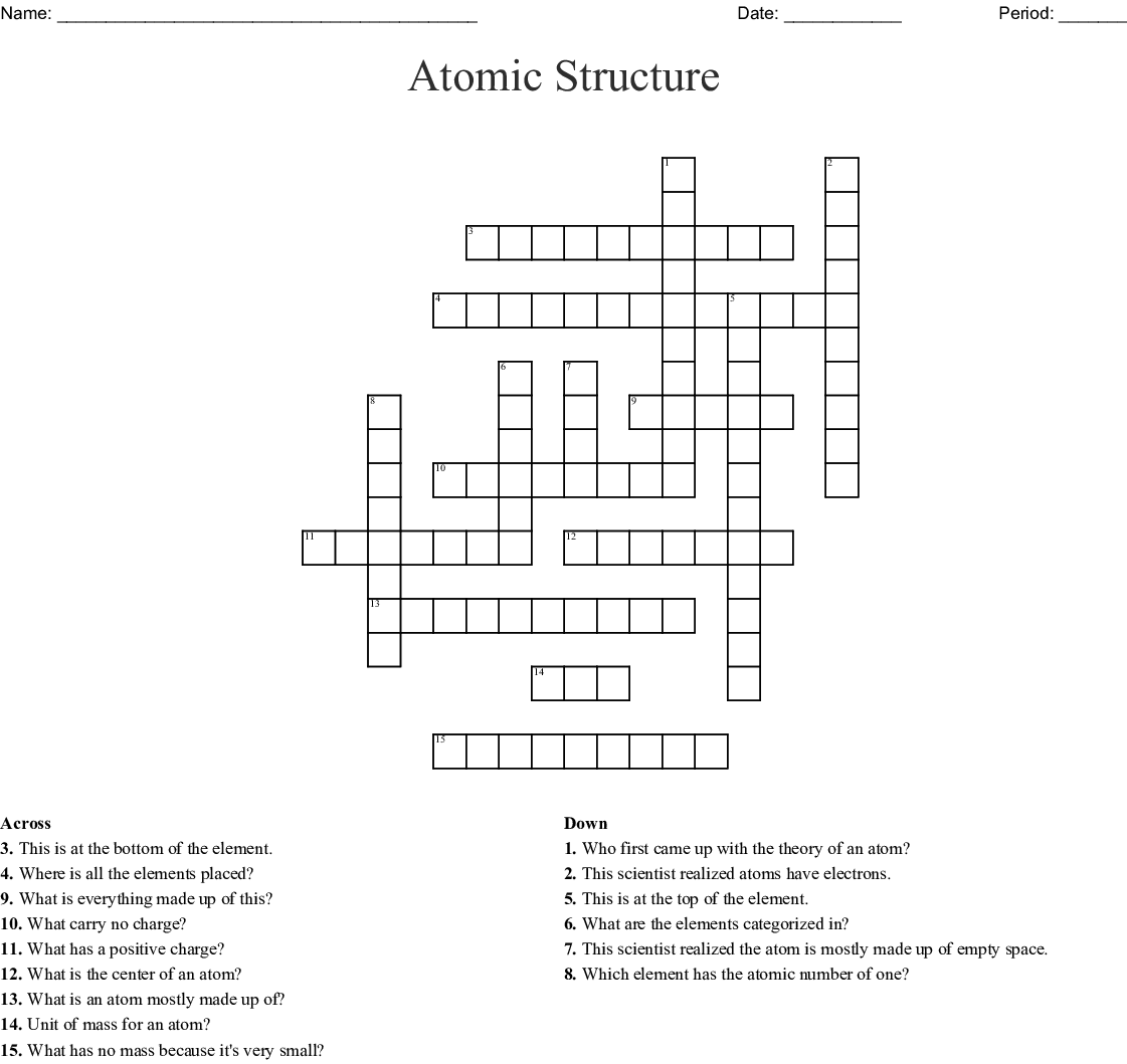 Atomic Structure Crossword