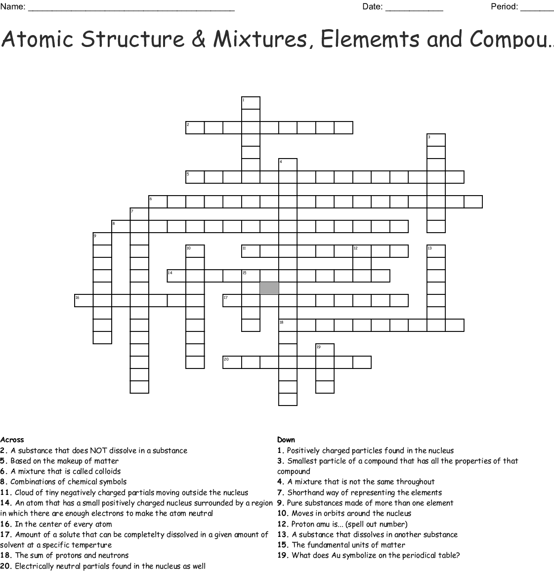 Atomic Structure Amp Mixtures Elememts And Compounds