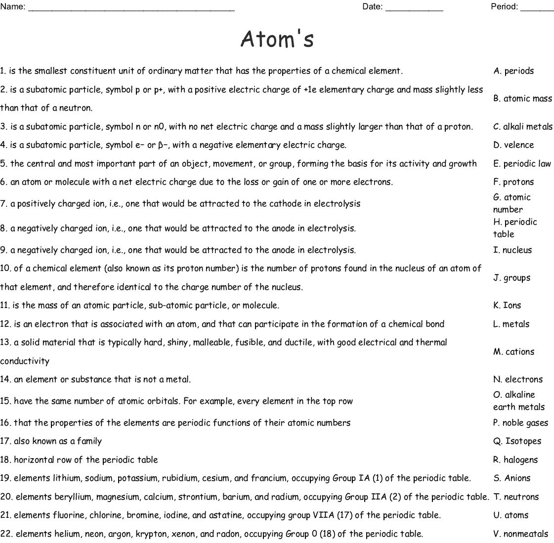 Atom S Worksheet