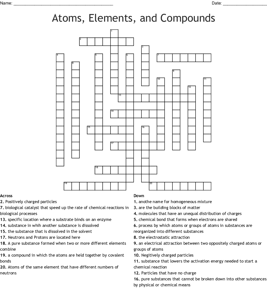 Atoms And Elements Worksheet Answers