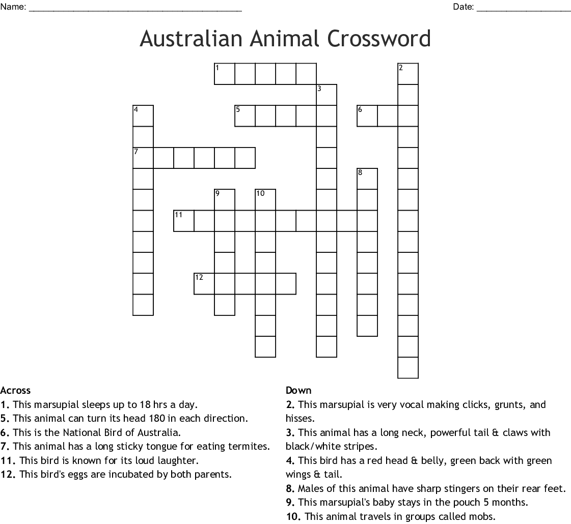 Australian Animal Crossword