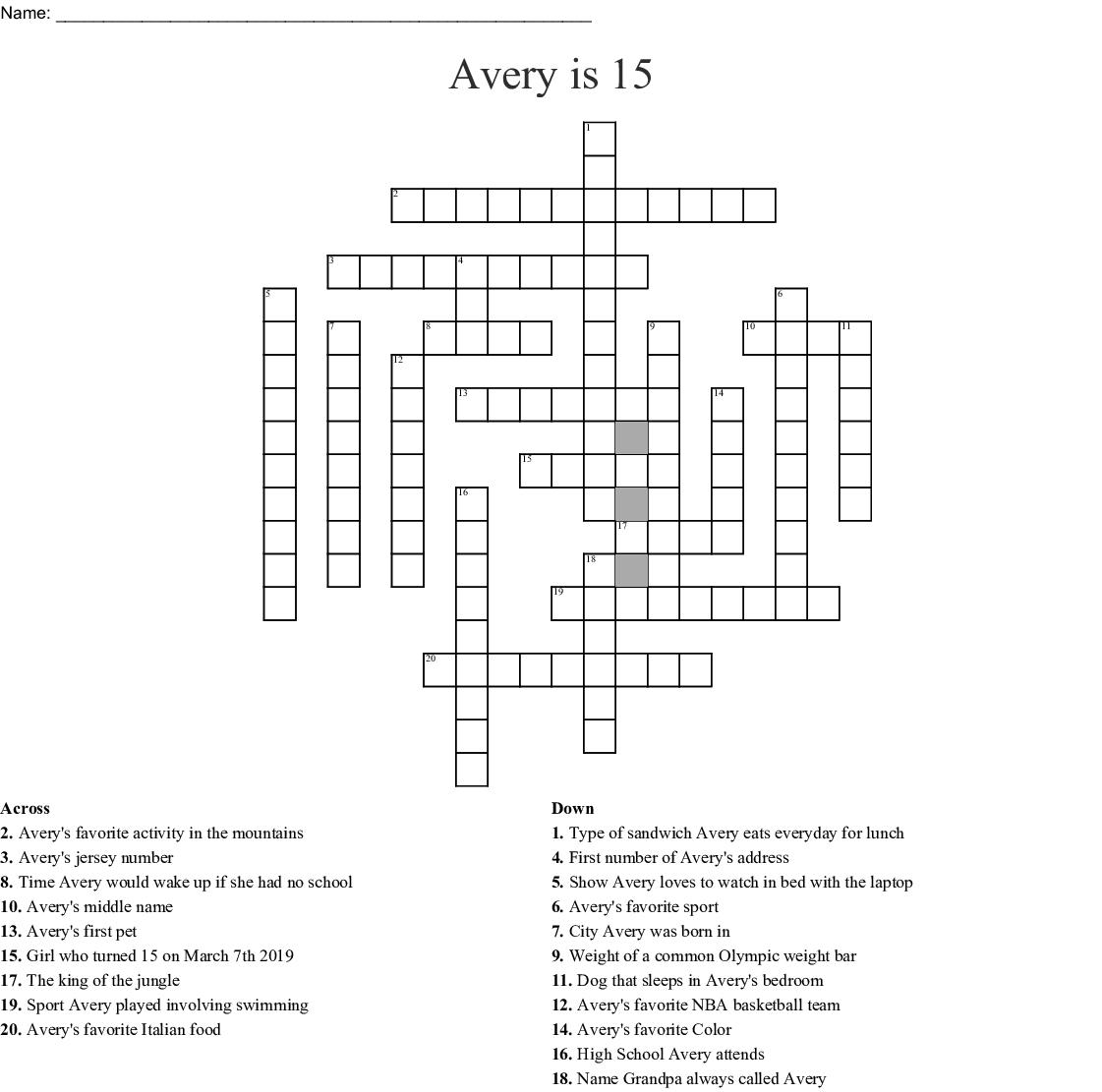 Avery Is 15 Crossword
