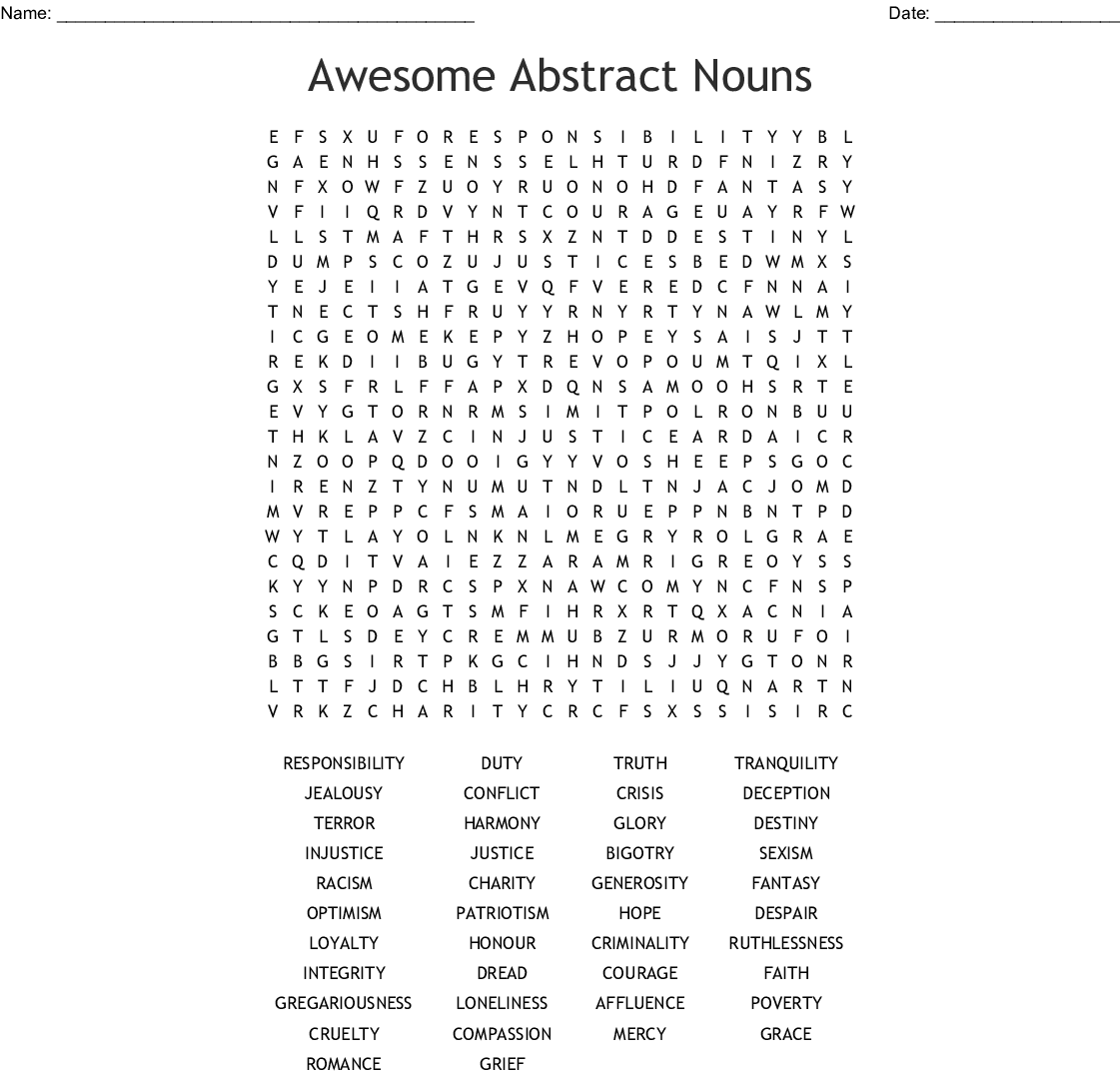 Awesome Abstract Nouns Word Search