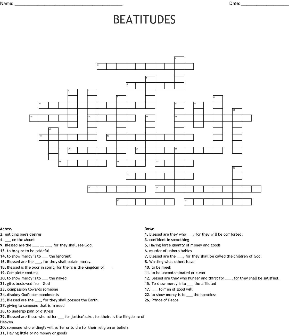 Beatitudes Crossword