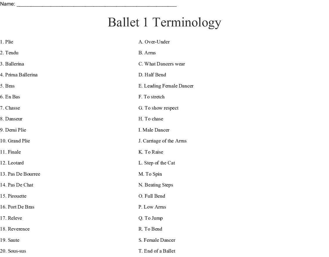 Ballet 1 Terminology Worksheet