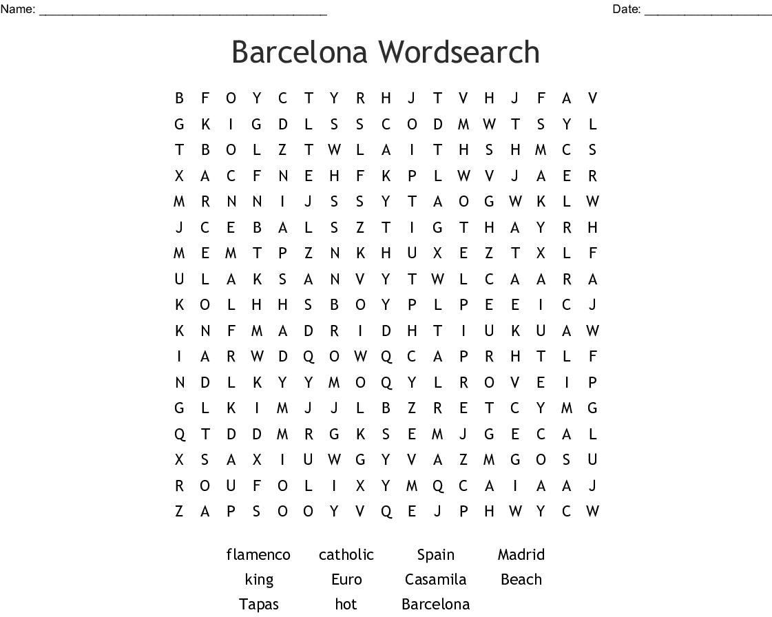 Barcelona Wordsearch