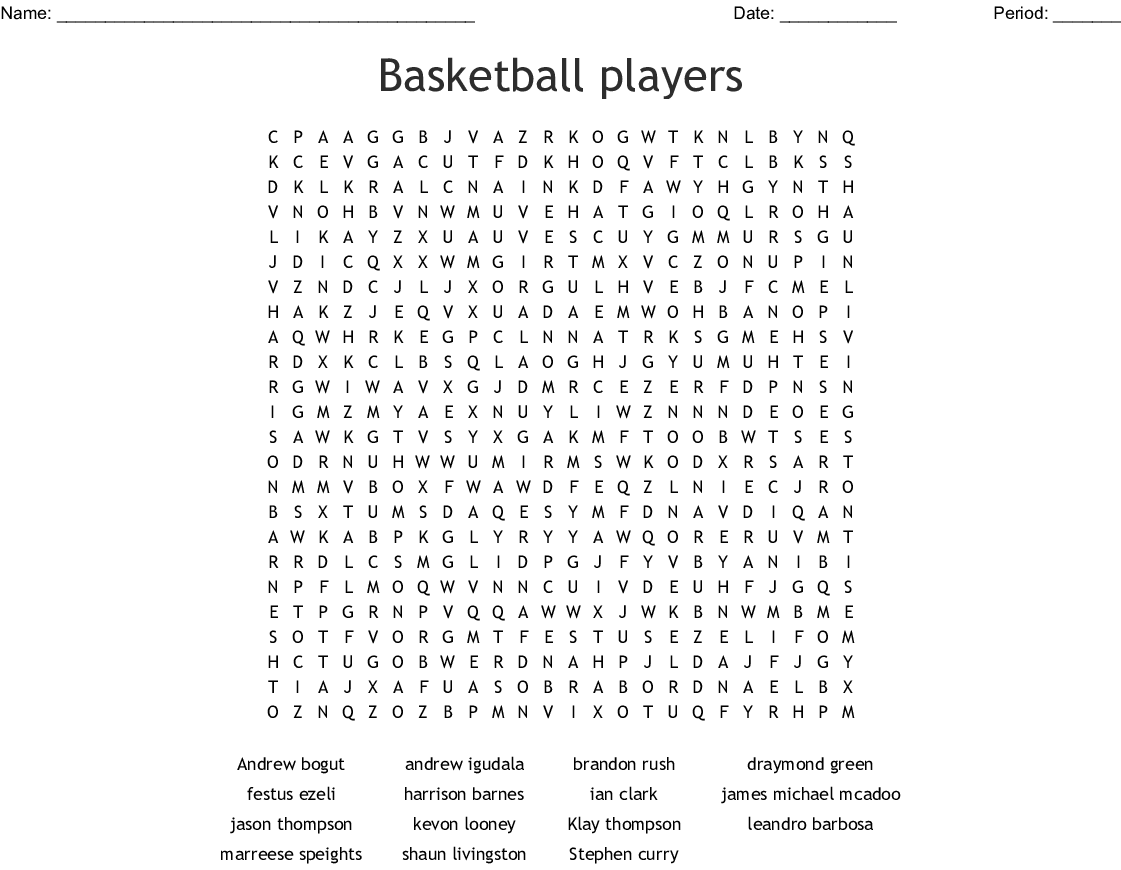 Golden State Warriors Word Search
