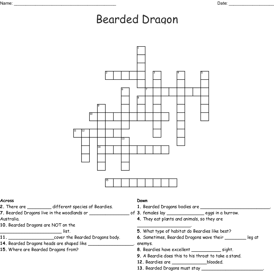 Bearded Dragons Word Search