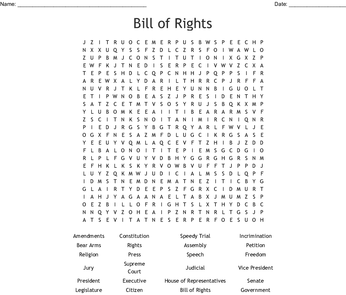 Best Bill Of Rights Printable
