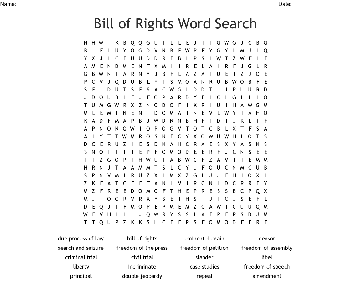 Bill Of Rights Word Search