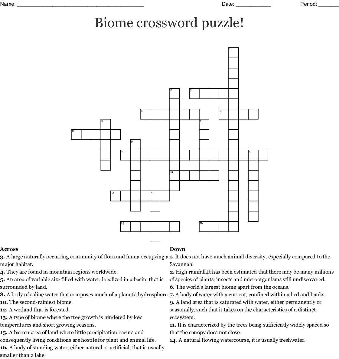 Biomes Crossword