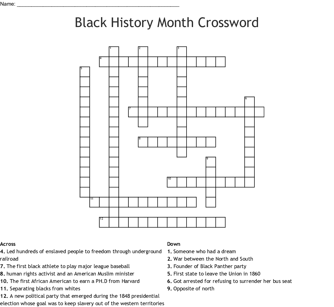 8th Grade Black History Month Word Search Answer Key