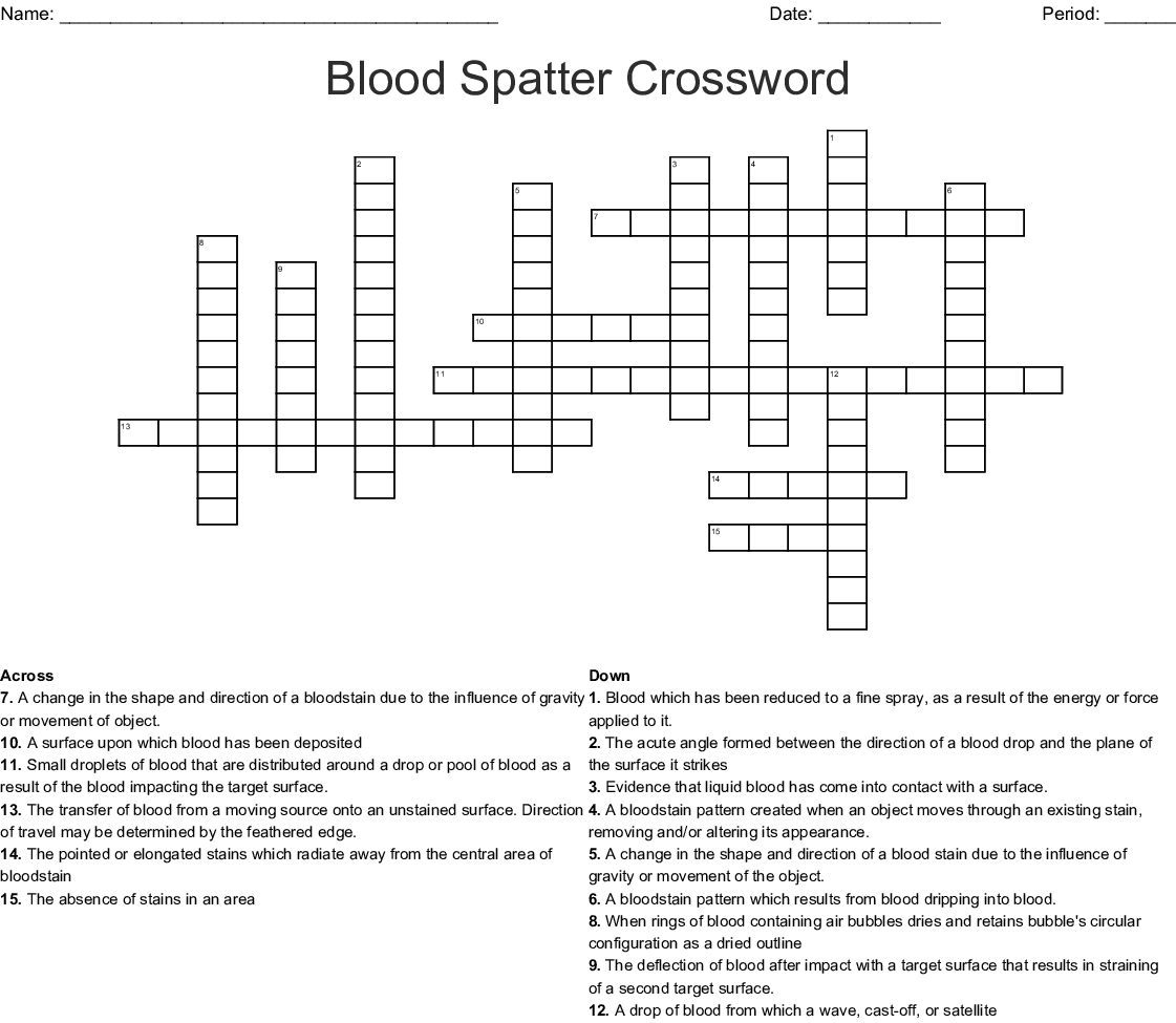 Crossword Blood And Blood Spatter Answer Key