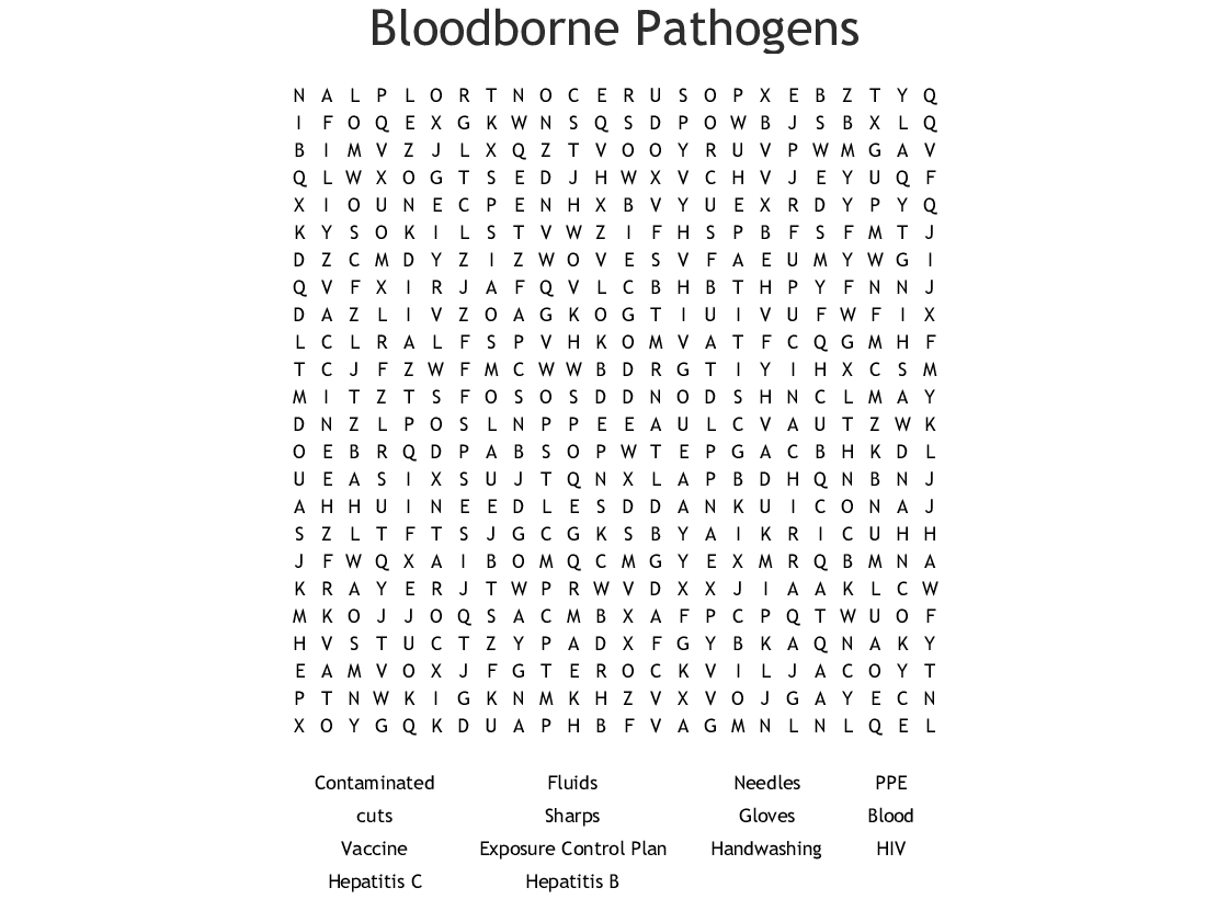 Bloodborne Pathogens Crossword