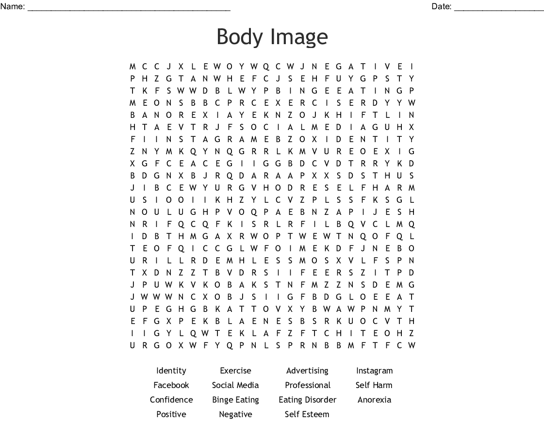 Body Image Word Search