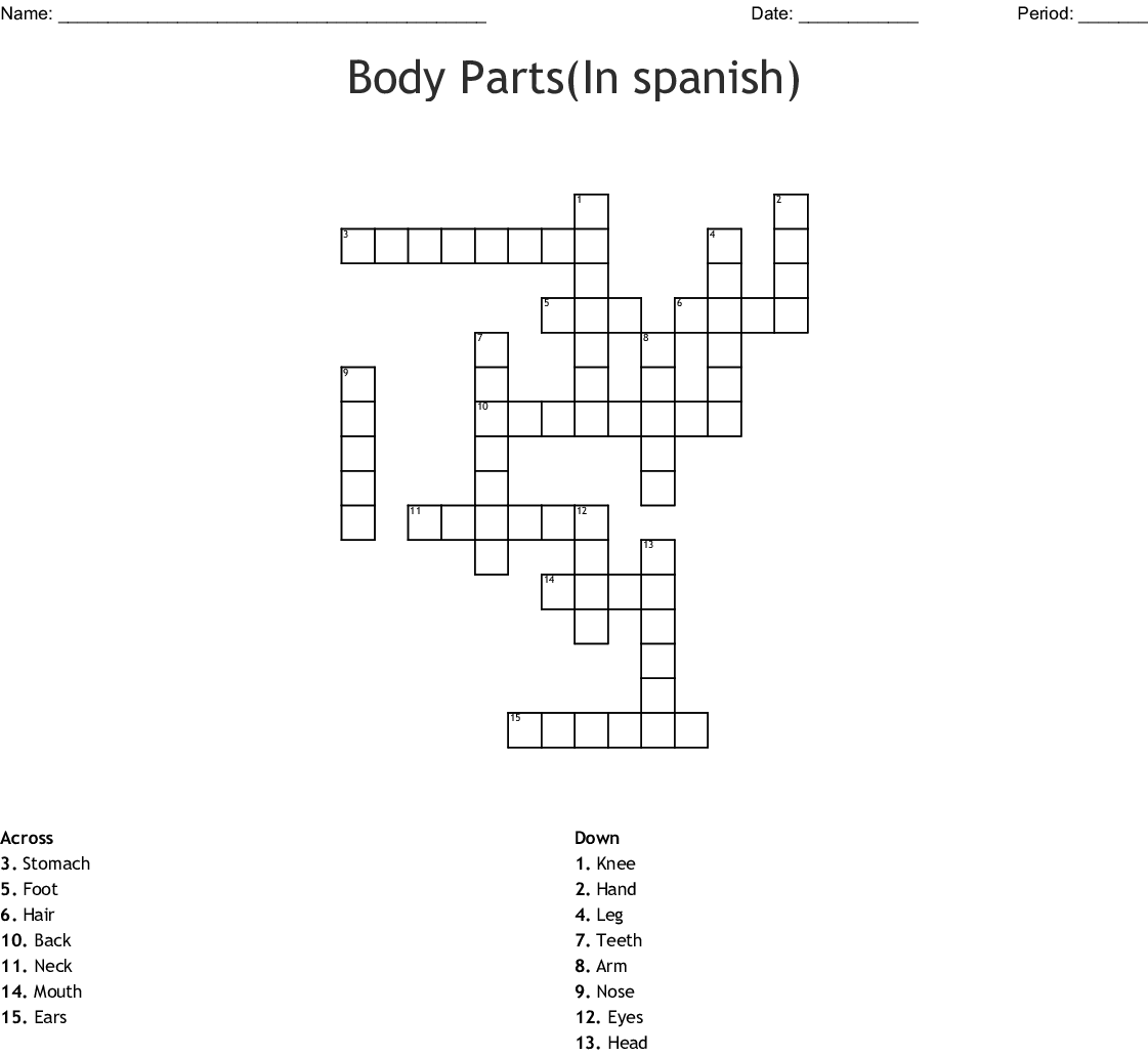 Body Parts In Spanish Crossword