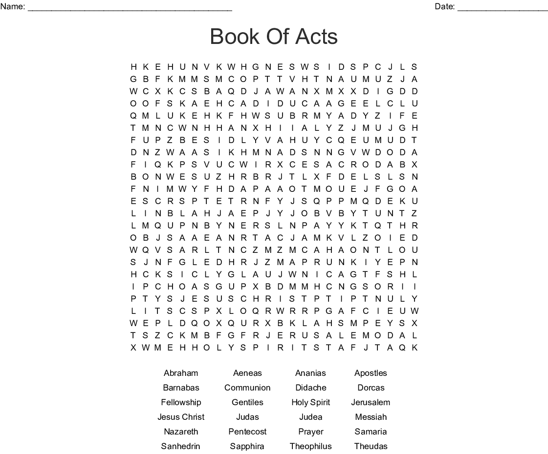 Book Of Acts Word Search
